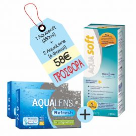 Aqualens Refresh For Astgmatism x 2 + Aquasoft 380ml